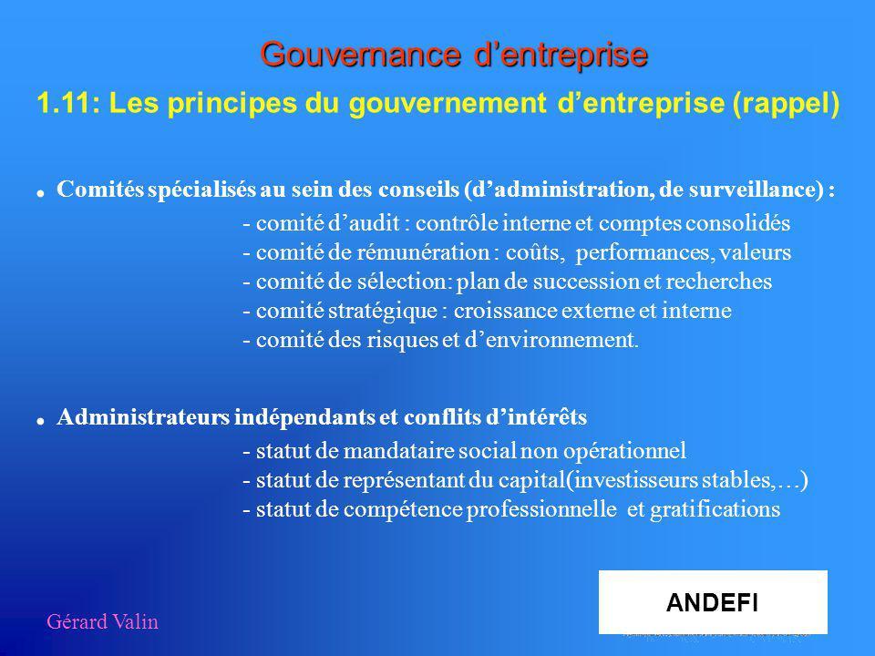 Gérard Valin Aza Gouvernance dentreprise 1.11: Les principes du gouvernement dentreprise (rappel). Comités spécialisés au sein des conseils (dadminist