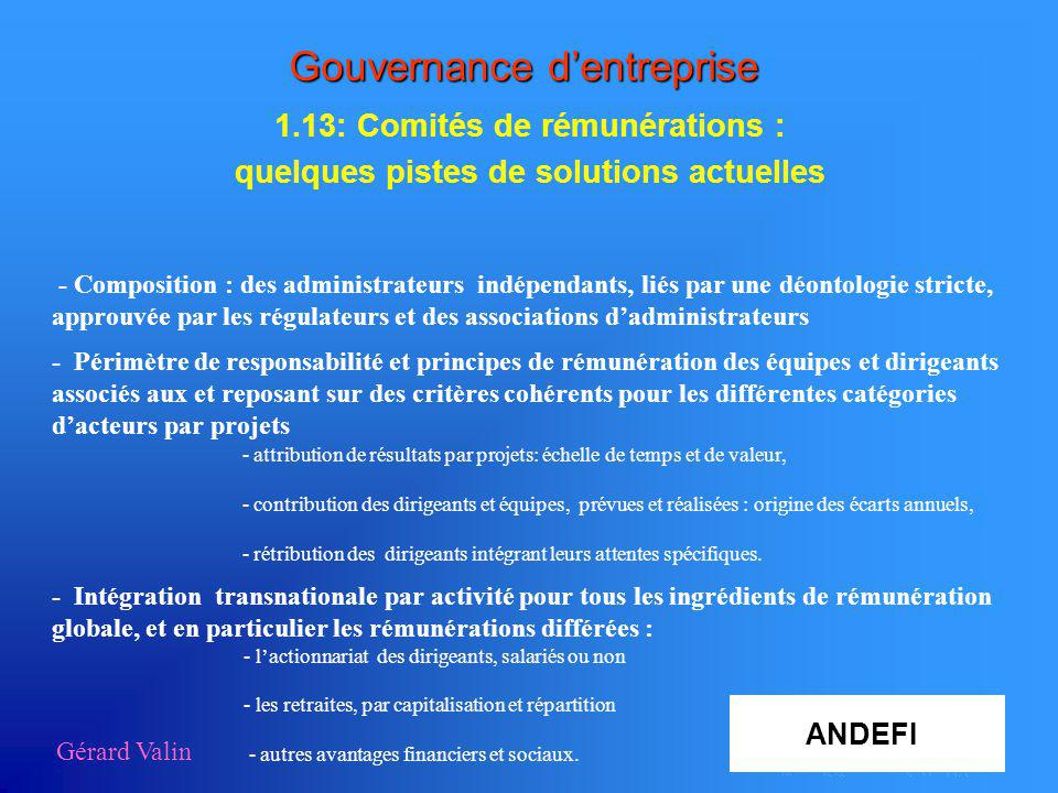 Gérard Valin Gouvernance dentreprise 1.13: Comités de rémunérations : quelques pistes de solutions actuelles - Composition : des administrateurs indép