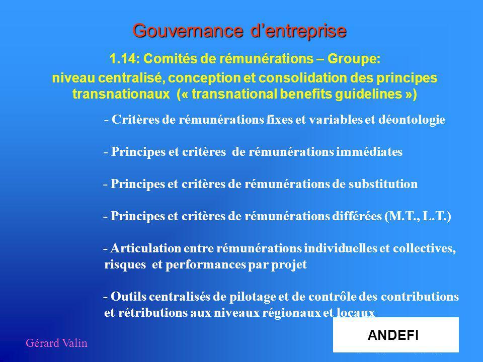 Gérard Valin Gouvernance dentreprise 1.14: Comités de rémunérations – Groupe: niveau centralisé, conception et consolidation des principes transnation