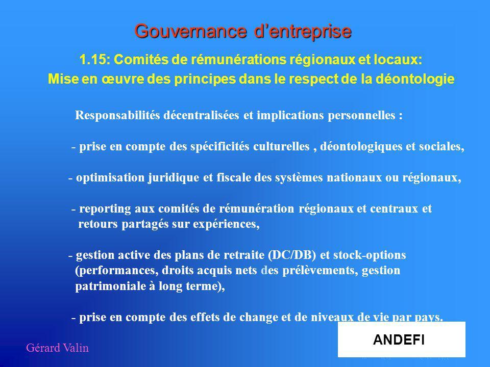 Gérard Valin AA Gouvernance dentreprise 1.15: Comités de rémunérations régionaux et locaux: Mise en œuvre des principes dans le respect de la déontolo