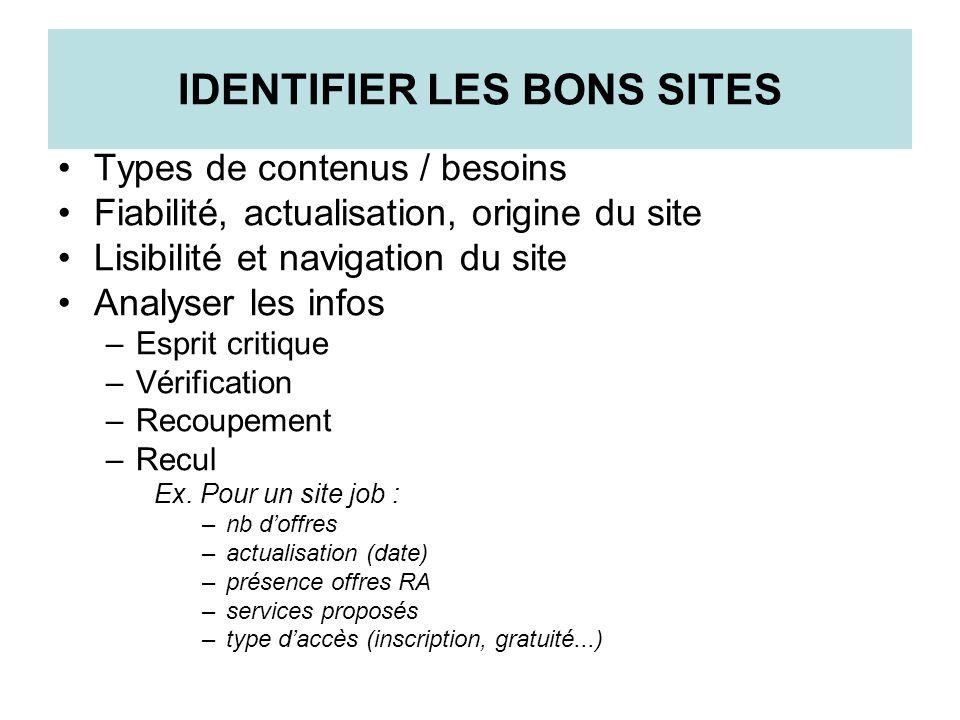 IDENTIFIER LES BONS SITES Types de contenus / besoins Fiabilité, actualisation, origine du site Lisibilité et navigation du site Analyser les infos –E