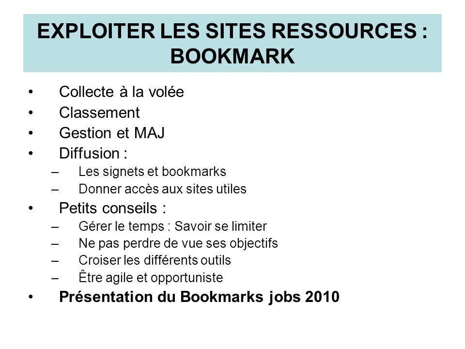 EXPLOITER LES SITES RESSOURCES : BOOKMARK Collecte à la volée Classement Gestion et MAJ Diffusion : –Les signets et bookmarks –Donner accès aux sites