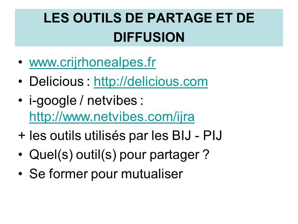 LES OUTILS DE PARTAGE ET DE DIFFUSION www.crijrhonealpes.fr Delicious : http://delicious.comhttp://delicious.com i-google / netvibes : http://www.netv
