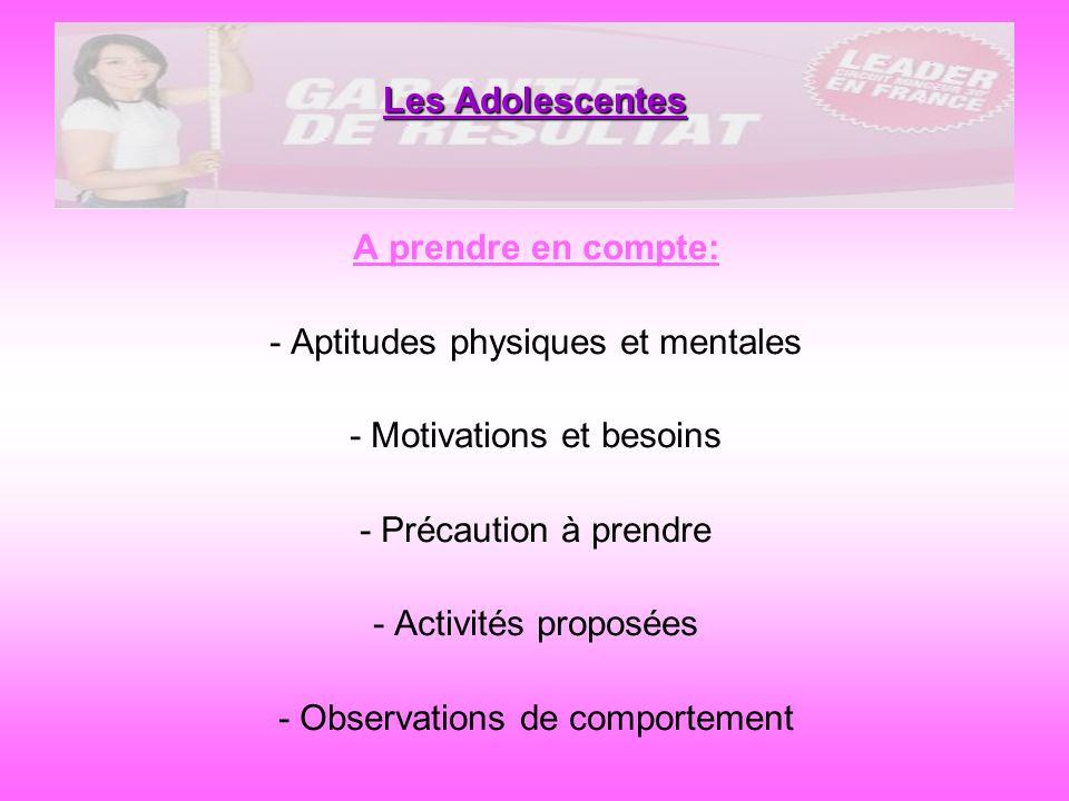 Les Adolescentes A prendre en compte: - Aptitudes physiques et mentales - Motivations et besoins - Précaution à prendre - Activités proposées - Observ