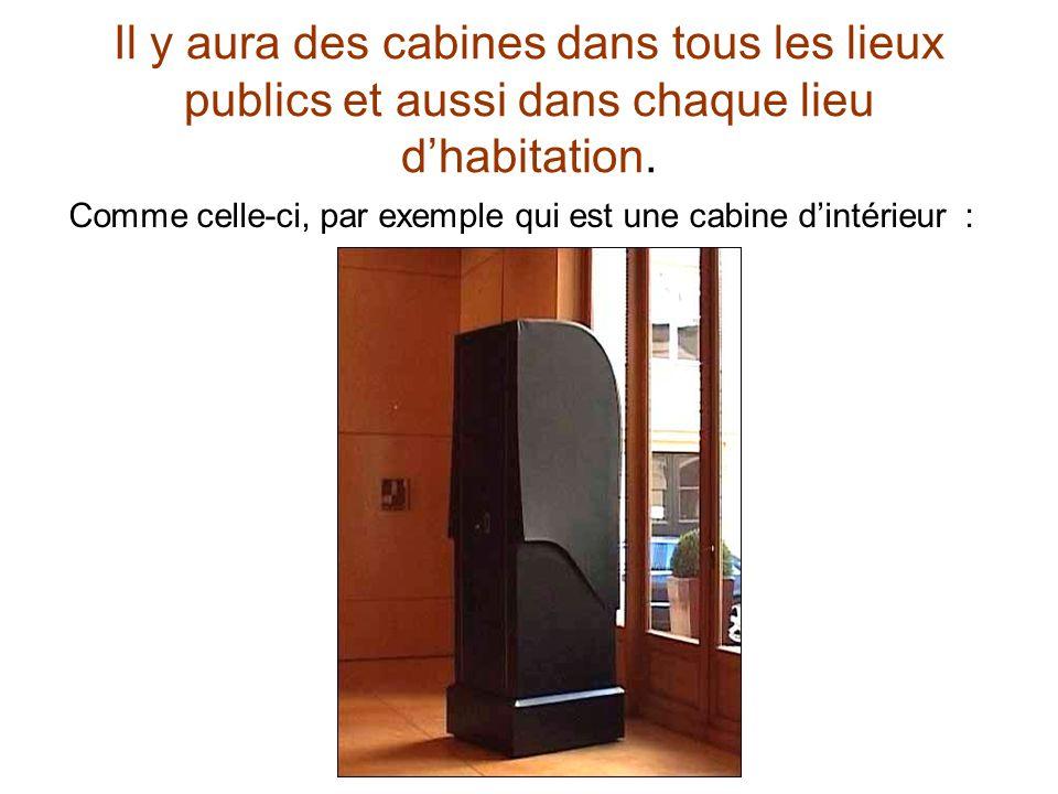Il y aura des cabines dans tous les lieux publics et aussi dans chaque lieu dhabitation. Comme celle-ci, par exemple qui est une cabine dintérieur :