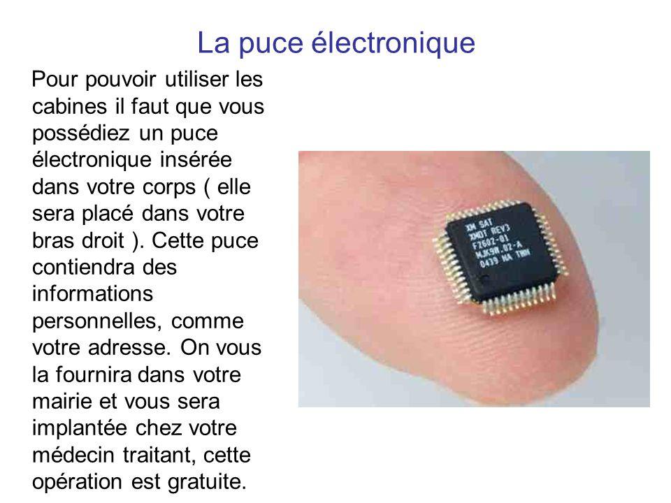 La puce électronique Pour pouvoir utiliser les cabines il faut que vous possédiez un puce électronique insérée dans votre corps ( elle sera placé dans