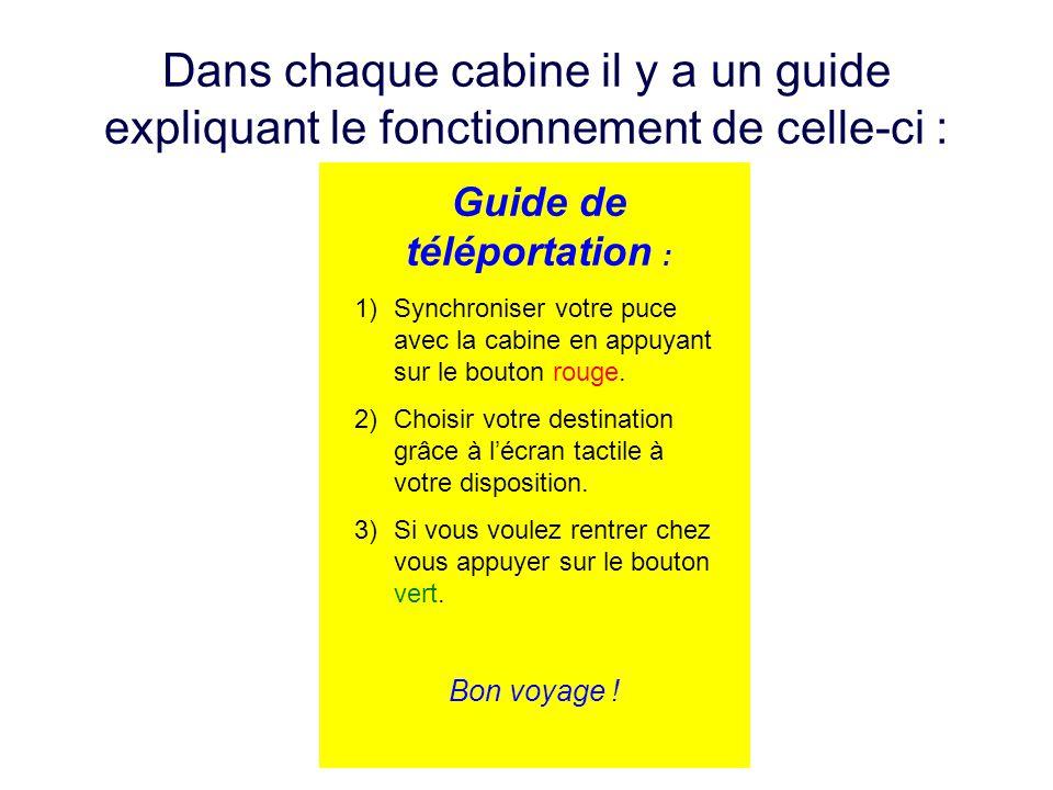 Dans chaque cabine il y a un guide expliquant le fonctionnement de celle-ci : Guide de téléportation : 1)Synchroniser votre puce avec la cabine en app