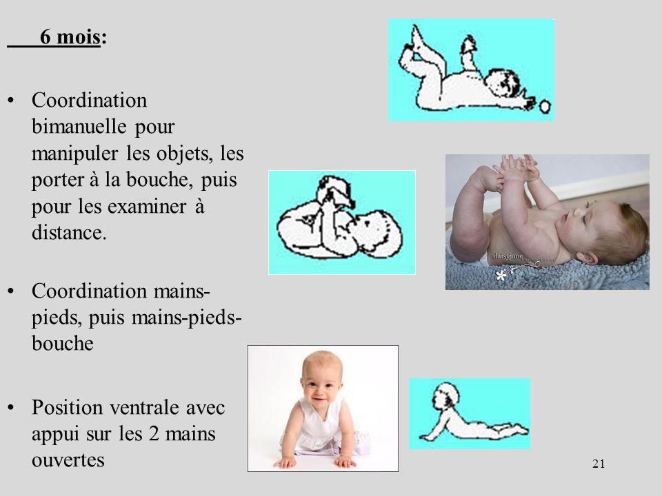 6 mois: Coordination bimanuelle pour manipuler les objets, les porter à la bouche, puis pour les examiner à distance. Coordination mains- pieds, puis