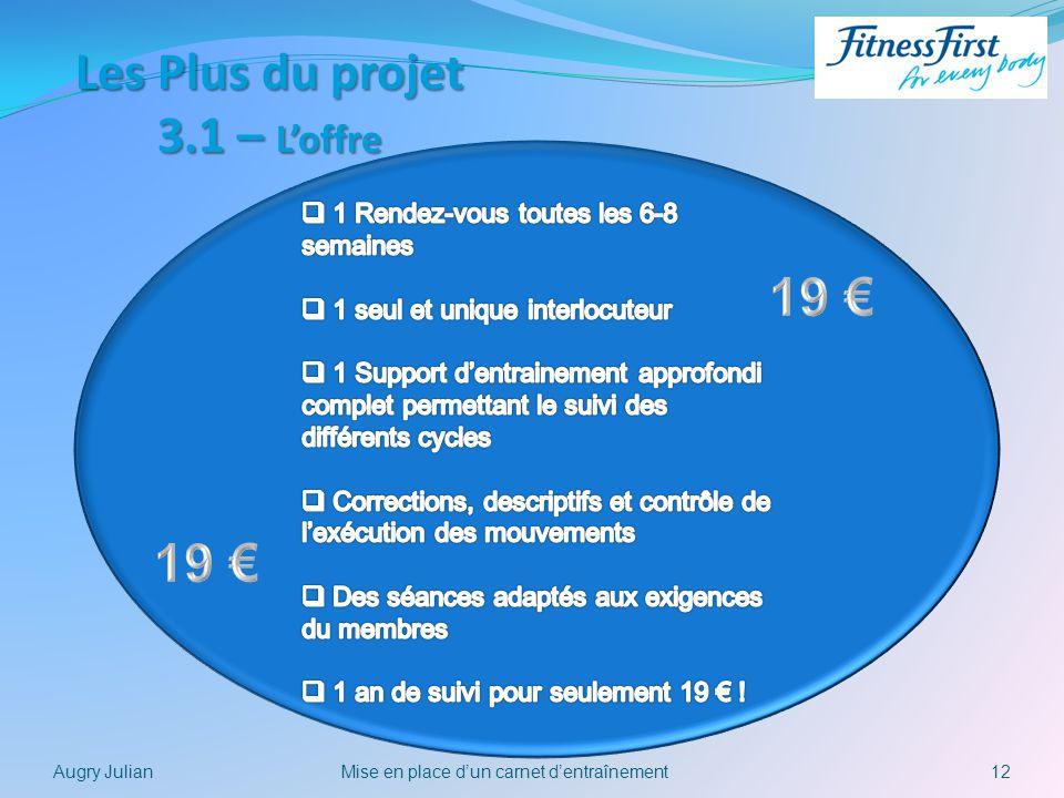 12Mise en place dun carnet dentraînementAugry Julian Les Plus du projet 3.1 – Loffre
