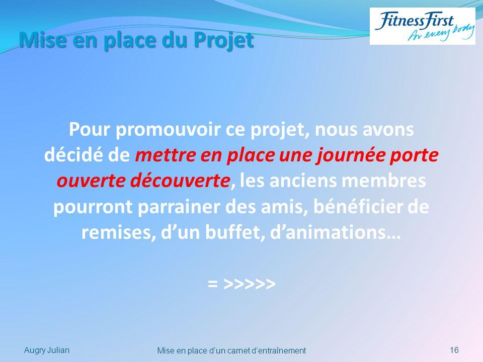16 Mise en place dun carnet dentraînement Augry Julian Mise en place du Projet Pour promouvoir ce projet, nous avons décidé de mettre en place une jou