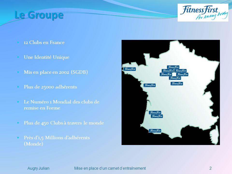 2Mise en place dun carnet dentraînementAugry Julian Le Groupe 12 Clubs en France Une Identité Unique Mis en place en 2002 (SGDB) Plus de 25000 adhéren