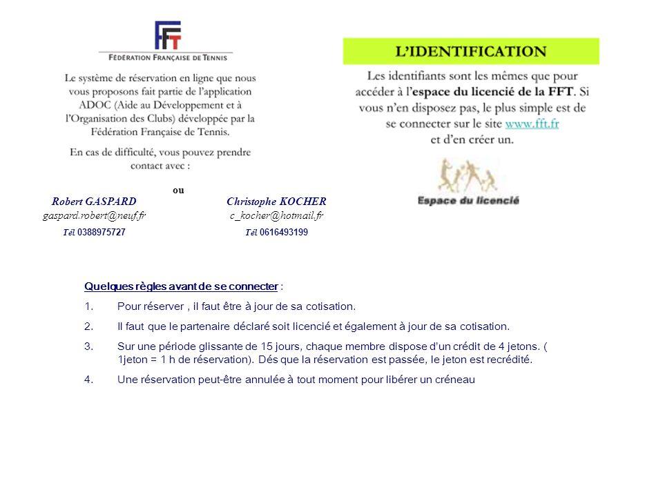 Christophe KOCHER c_kocher@hotmail.fr Tél 0616493199 ou Quelques règles avant de se connecter : 1.Pour réserver, il faut être à jour de sa cotisation.