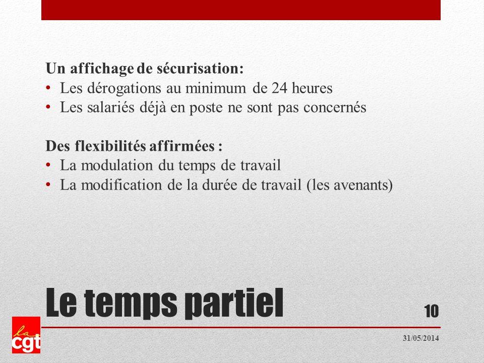 Le temps partiel Un affichage de sécurisation: Les dérogations au minimum de 24 heures Les salariés déjà en poste ne sont pas concernés Des flexibilités affirmées : La modulation du temps de travail La modification de la durée de travail (les avenants) 10 31/05/2014