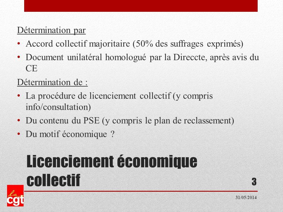 Licenciement économique collectif Détermination par Accord collectif majoritaire (50% des suffrages exprimés) Document unilatéral homologué par la Direccte, après avis du CE Détermination de : La procédure de licenciement collectif (y compris info/consultation) Du contenu du PSE (y compris le plan de reclassement) Du motif économique .