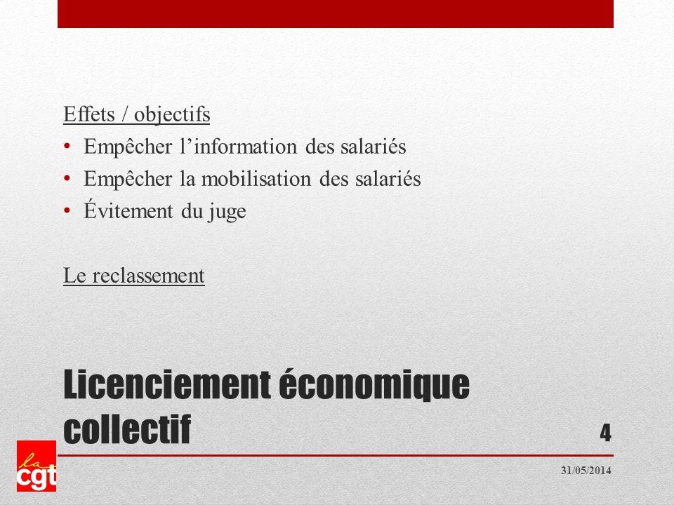 Licenciement économique collectif Effets / objectifs Empêcher linformation des salariés Empêcher la mobilisation des salariés Évitement du juge Le reclassement 4 31/05/2014