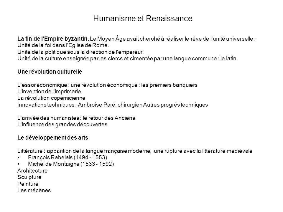Humanisme et Renaissance La fin de l'Empire byzantin. Le Moyen Âge avait cherché à réaliser le rêve de l'unité universelle : Unité de la foi dans l'Eg