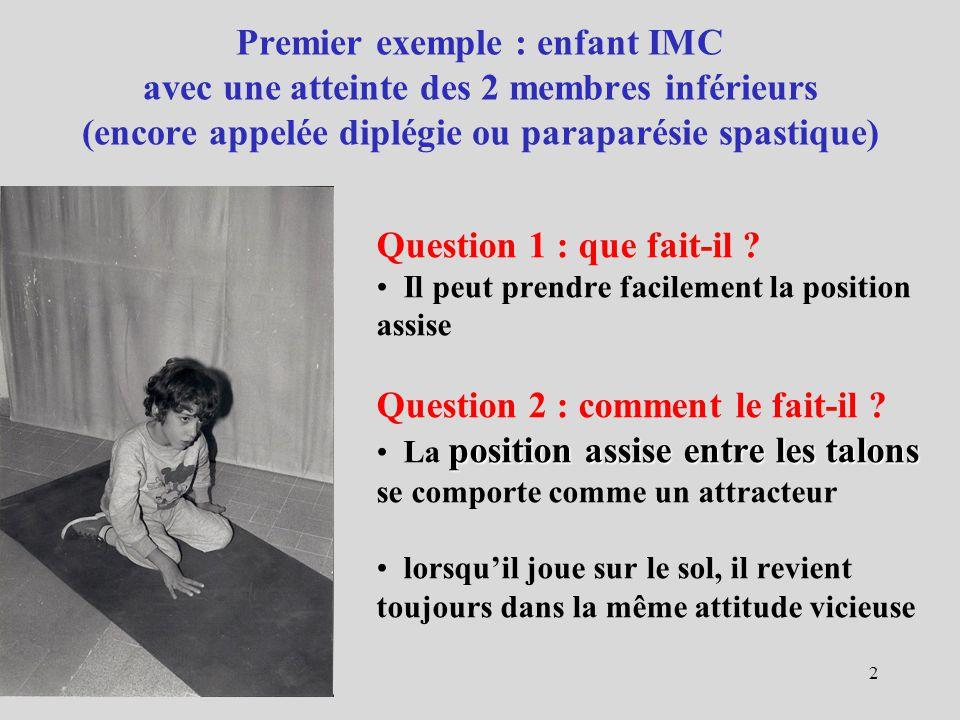 Premier exemple : enfant IMC avec une atteinte des 2 membres inférieurs (encore appelée diplégie ou paraparésie spastique) Question 1 : que fait-il ?
