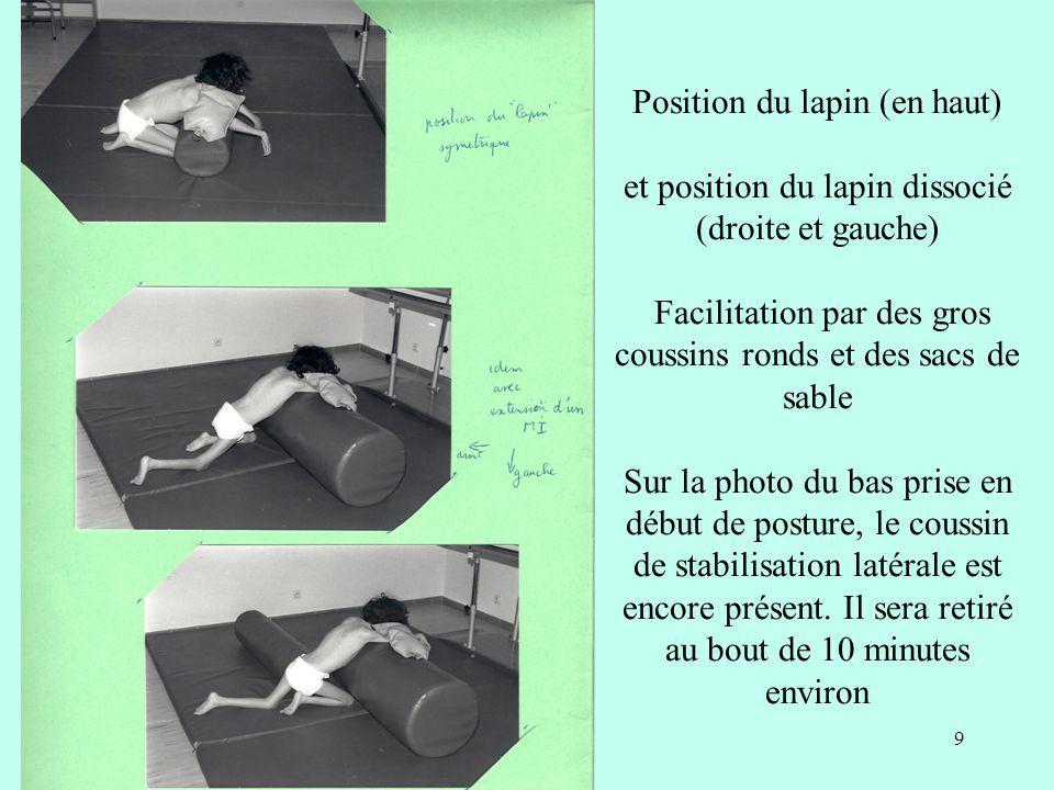 Position du lapin (en haut) et position du lapin dissocié (droite et gauche) Facilitation par des gros coussins ronds et des sacs de sable Sur la phot