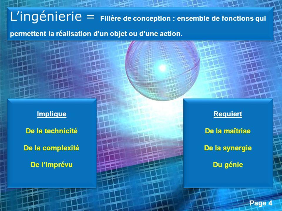 Page 4 Implique De la technicité De la complexité De limprévu Implique De la technicité De la complexité De limprévu Lingénierie = Filière de concepti