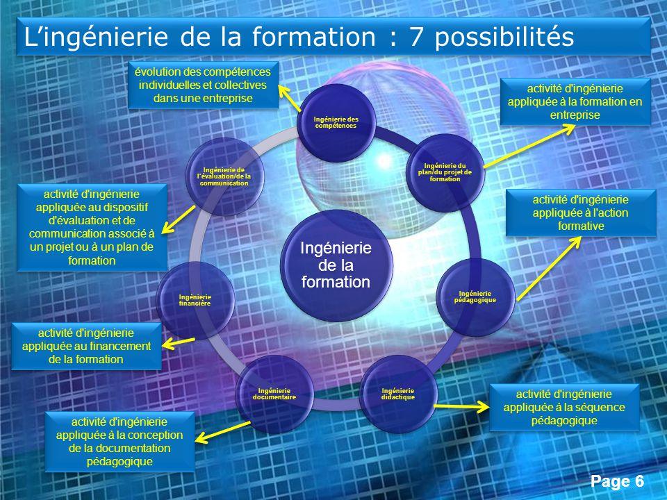Page 6 Lingénierie de la formation : 7 possibilités évolution des compétences individuelles et collectives dans une entreprise activité d'ingénierie a