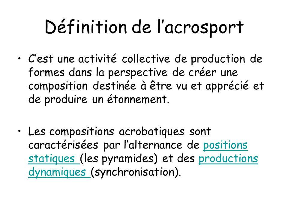 Définition de lacrosport Cest une activité collective de production de formes dans la perspective de créer une composition destinée à être vu et apprécié et de produire un étonnement.