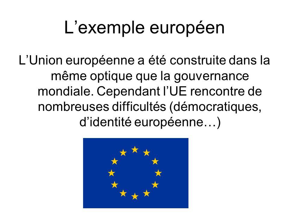 Lexemple européen LUnion européenne a été construite dans la même optique que la gouvernance mondiale. Cependant lUE rencontre de nombreuses difficult