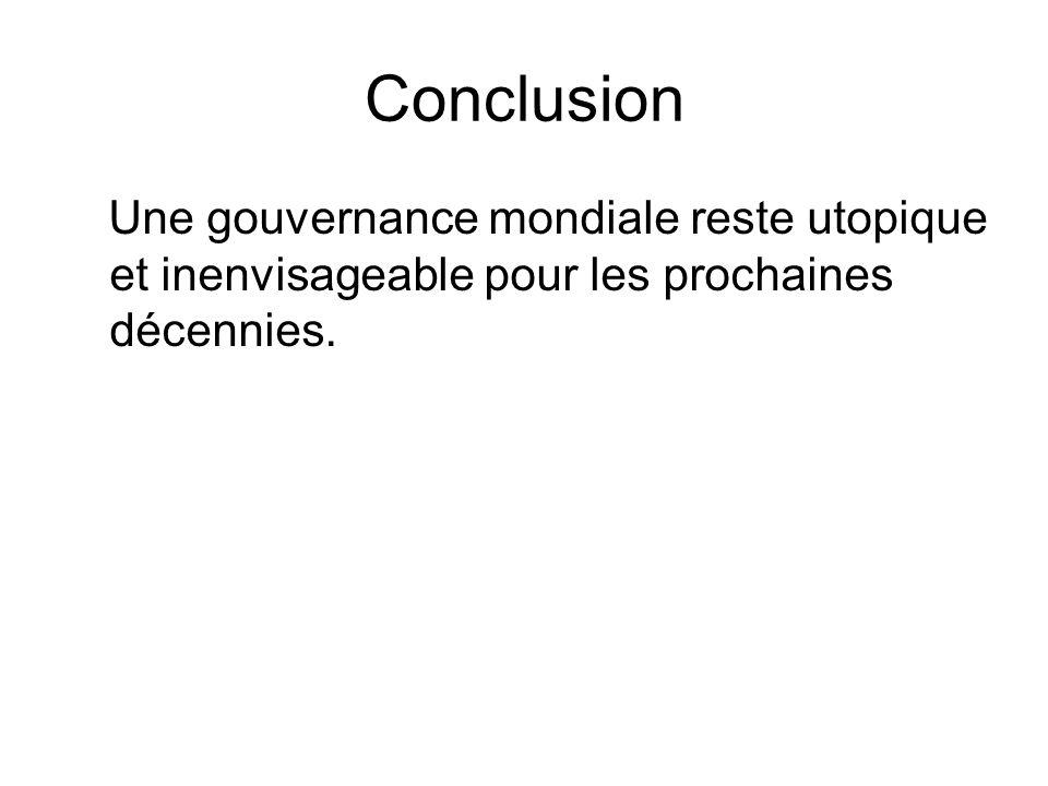 Conclusion Une gouvernance mondiale reste utopique et inenvisageable pour les prochaines décennies.