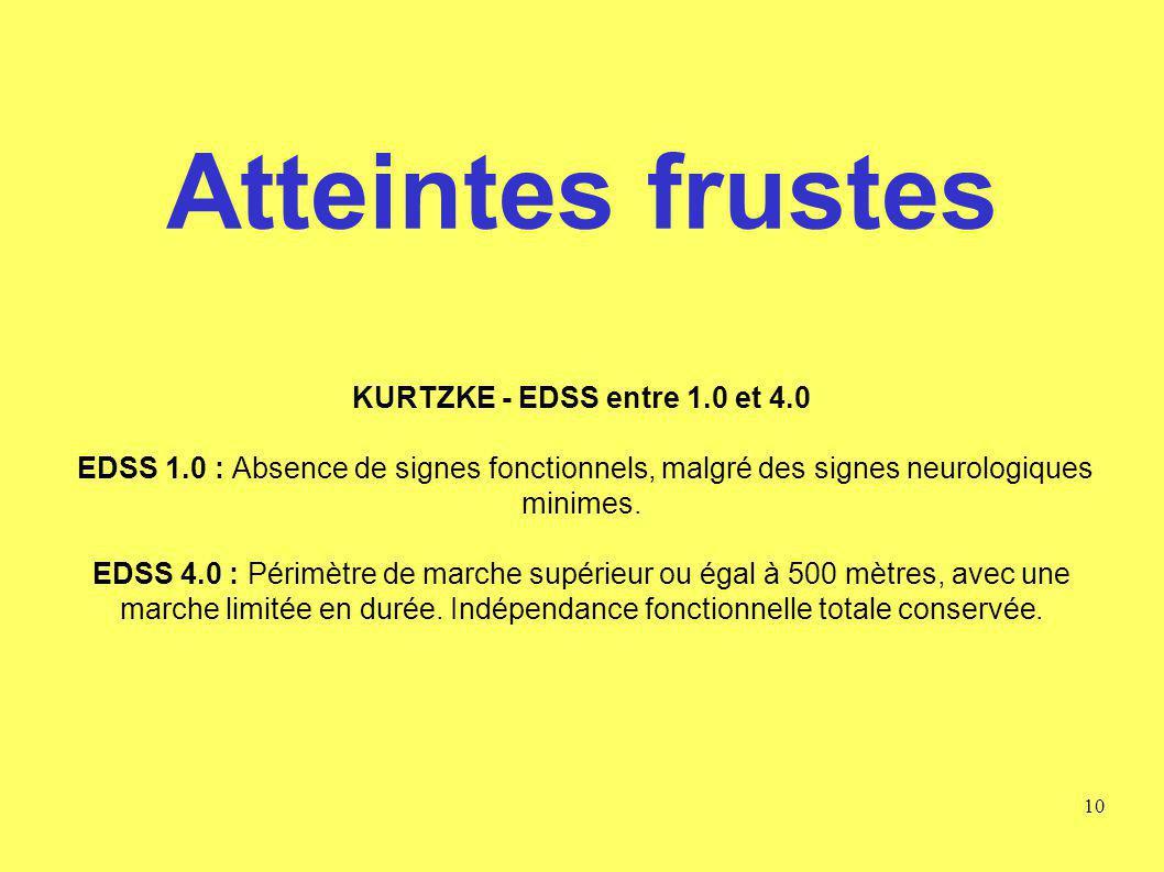 Atteintes frustes KURTZKE - EDSS entre 1.0 et 4.0 EDSS 1.0 : Absence de signes fonctionnels, malgré des signes neurologiques minimes. EDSS 4.0 : Périm
