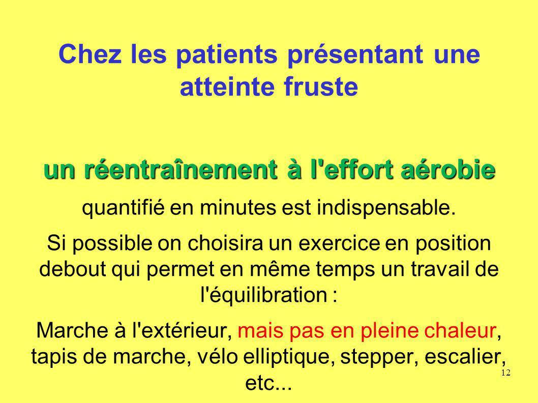 Chez les patients présentant une atteinte fruste un réentraînement à l'effort aérobie quantifié en minutes est indispensable. Si possible on choisira