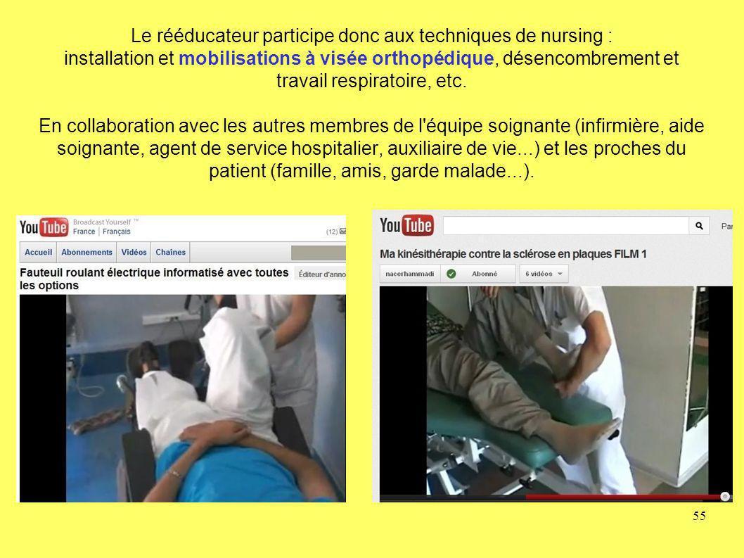 Le rééducateur participe donc aux techniques de nursing : installation et mobilisations à visée orthopédique, désencombrement et travail respiratoire,
