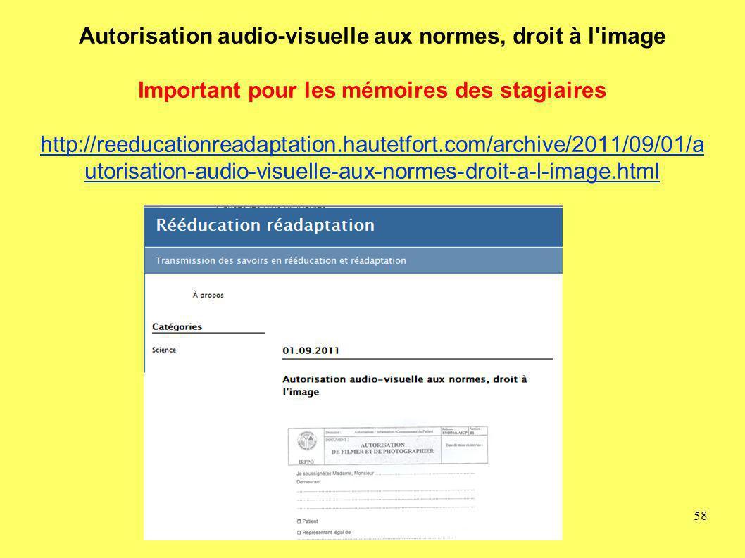 Autorisation audio-visuelle aux normes, droit à l'image Important pour les mémoires des stagiaires http://reeducationreadaptation.hautetfort.com/archi