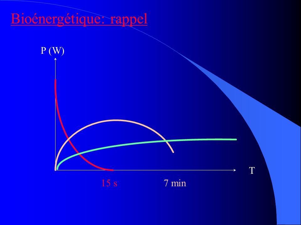 P (W) T 15 s7 min Bioénergétique: rappel