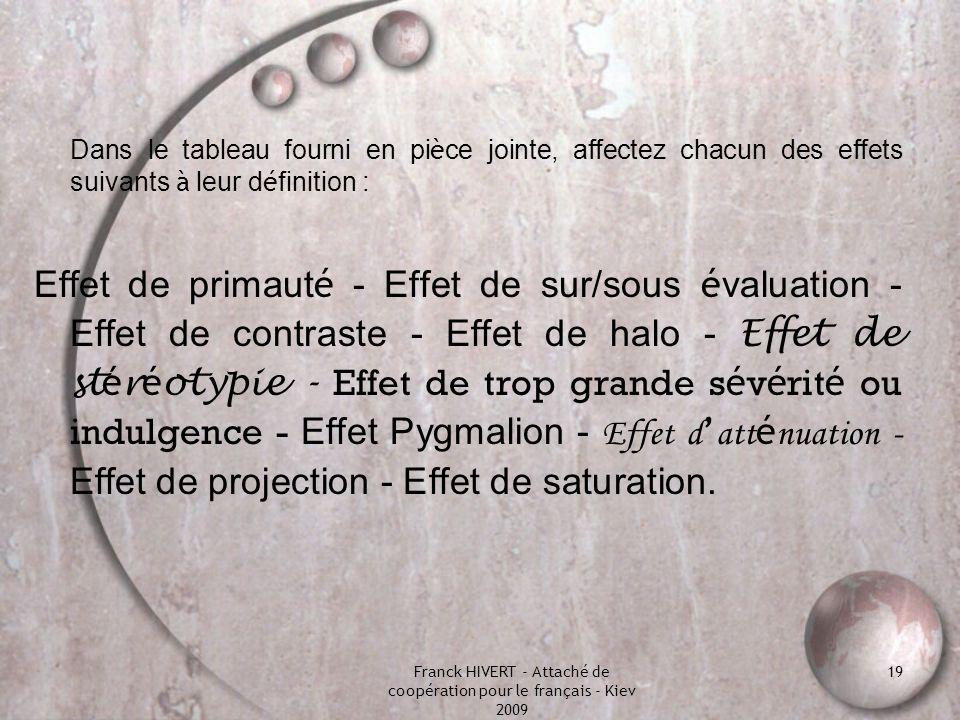 Franck HIVERT - Attaché de coopération pour le français - Kiev 2009 19 Dans le tableau fourni en pi è ce jointe, affectez chacun des effets suivants à