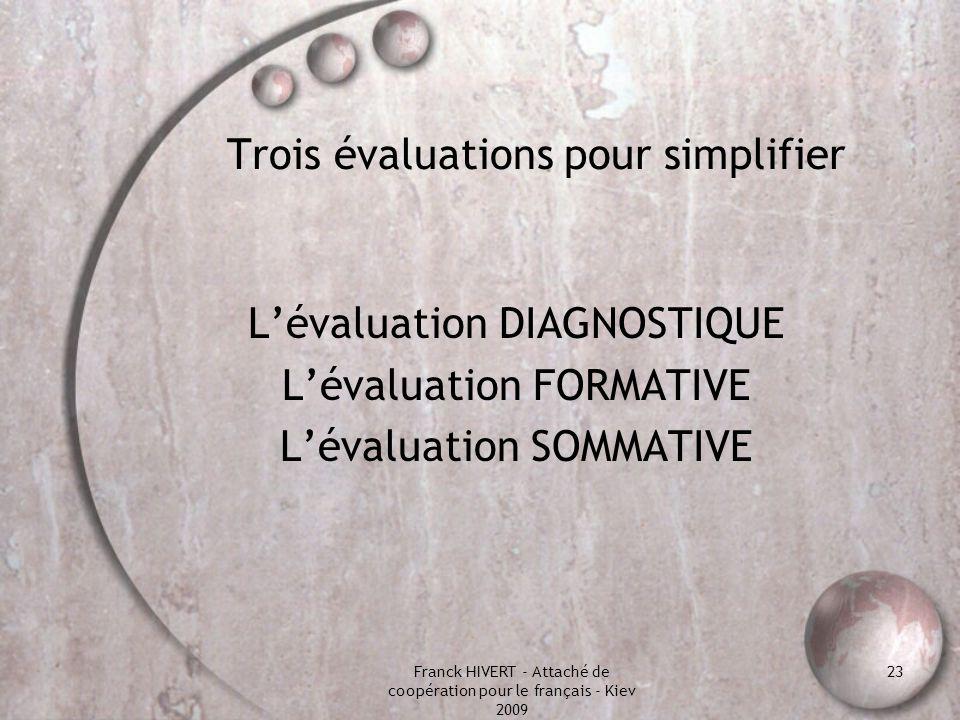 Franck HIVERT - Attaché de coopération pour le français - Kiev 2009 23 Trois évaluations pour simplifier Lévaluation DIAGNOSTIQUE Lévaluation FORMATIV