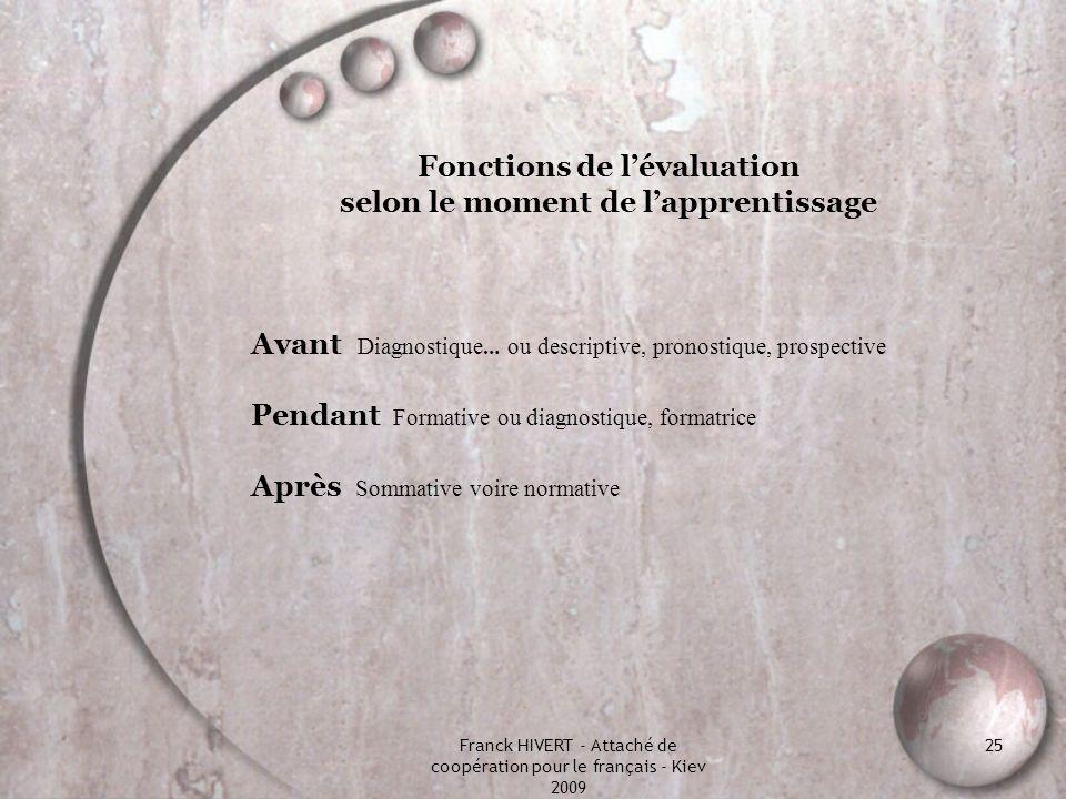Franck HIVERT - Attaché de coopération pour le français - Kiev 2009 25 Fonctions de lévaluation selon le moment de lapprentissage Avant Diagnostique …