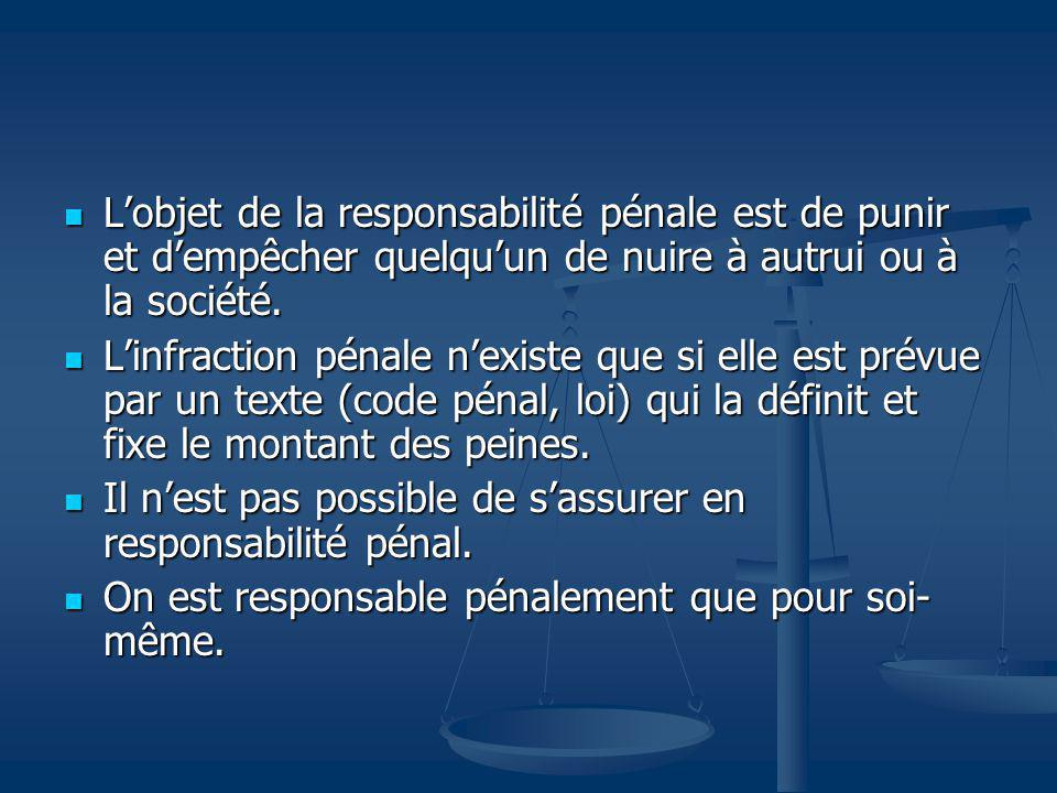 Lobjet de la responsabilité pénale est de punir et dempêcher quelquun de nuire à autrui ou à la société. Lobjet de la responsabilité pénale est de pun