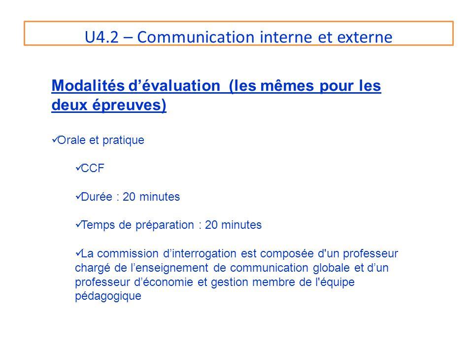 U4.2 – Communication interne et externe Modalités dévaluation (les mêmes pour les deux épreuves) Orale et pratique CCF Durée : 20 minutes Temps de pré
