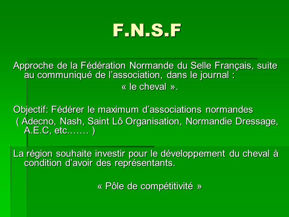 F.N.S.F Approche de la Fédération Normande du Selle Français, suite au communiqué de lassociation, dans le journal : « le cheval ».