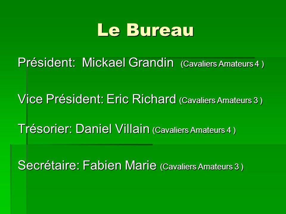 Le Bureau Président: Mickael Grandin (Cavaliers Amateurs 4 ) Vice Président: Eric Richard (Cavaliers Amateurs 3 ) Trésorier: Daniel Villain (Cavaliers Amateurs 4 ) Secrétaire: Fabien Marie (Cavaliers Amateurs 3 )
