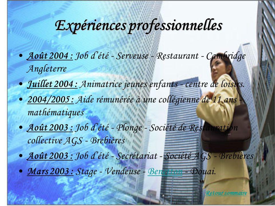 Expériences professionnelles Août 2004 : Job dété - Serveuse - Restaurant - Cambridge Angleterre Juillet 2004 : Animatrice jeunes enfants - centre de loisirs.