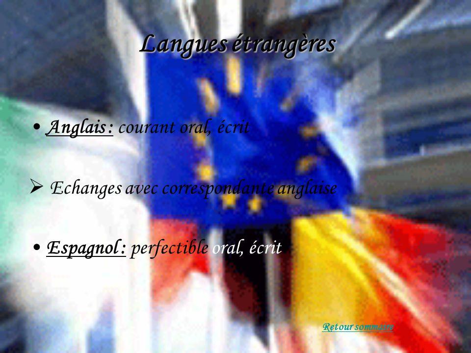 Langues étrangères Anglais : courant oral, écrit Echanges avec correspondante anglaise Espagnol : perfectible oral, écrit Retour sommaire