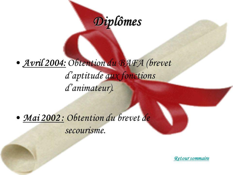 Diplômes Avril 2004: Obtention du BAFA (brevet daptitude aux fonctions danimateur).