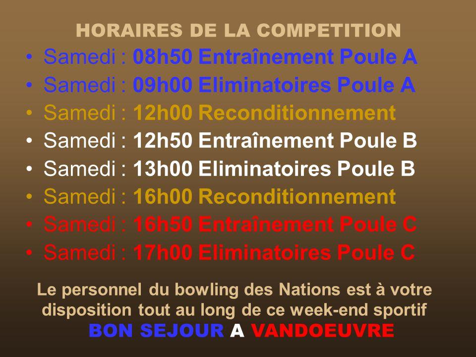 HORAIRES DE LA COMPETITION Samedi : 08h50 Entraînement Poule A Samedi : 09h00 Eliminatoires Poule A Samedi : 12h00 Reconditionnement Samedi : 12h50 En