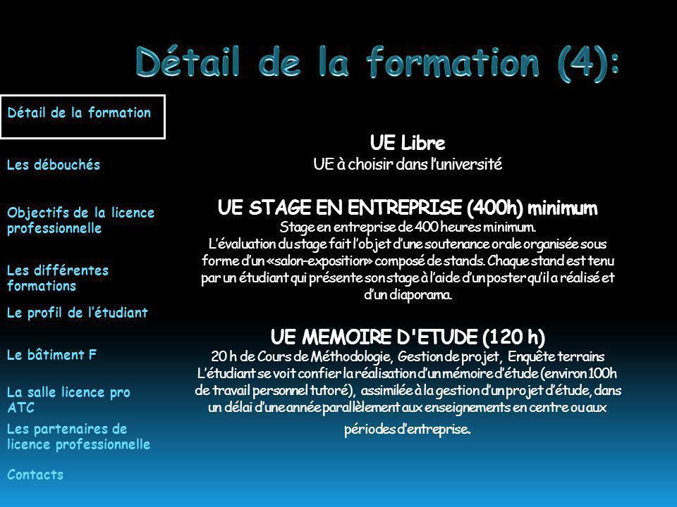 UE Libre UE à choisir dans luniversité UE STAGE EN ENTREPRISE (400h) minimum Stage en entreprise de 400 heures minimum.