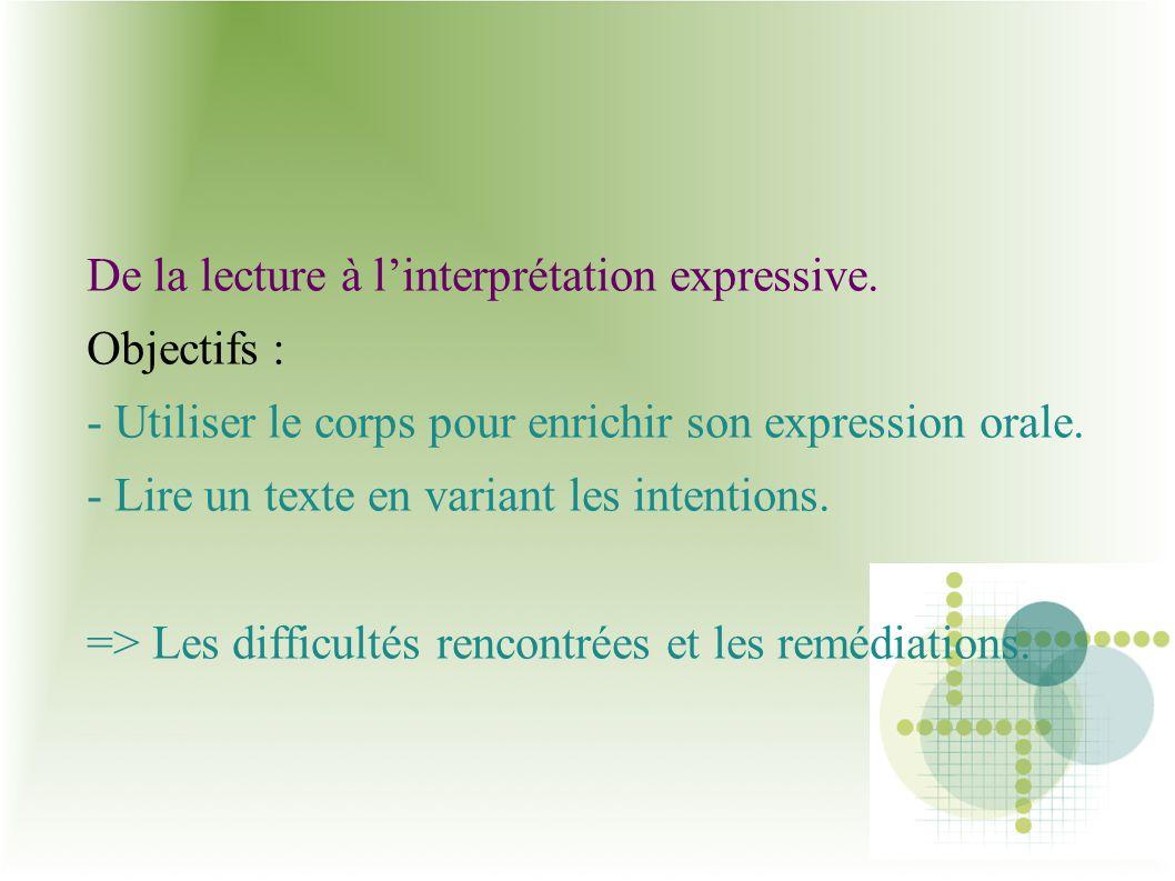 De la lecture à linterprétation expressive. Objectifs : - Utiliser le corps pour enrichir son expression orale. - Lire un texte en variant les intenti