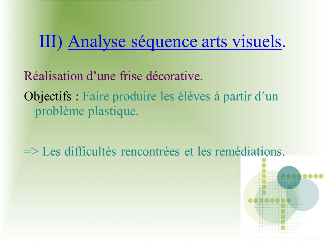 III) Analyse séquence arts visuels. Réalisation dune frise décorative. Objectifs : Faire produire les élèves à partir dun problème plastique. => Les d