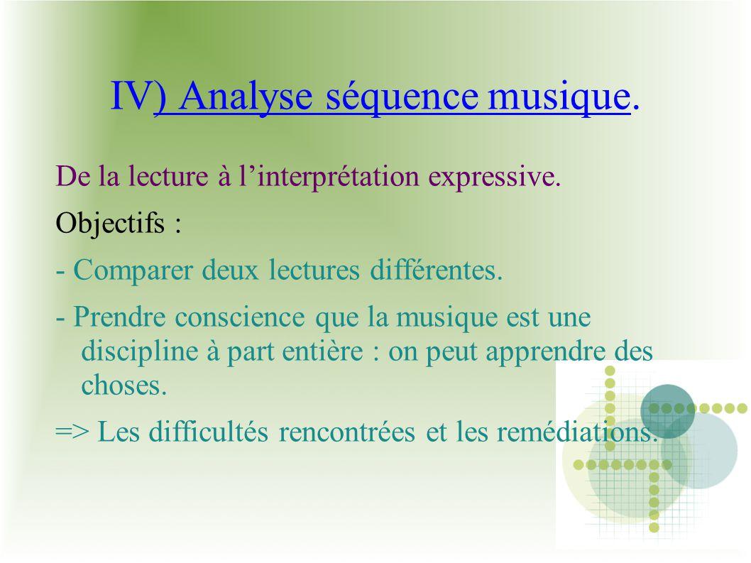 IV) Analyse séquence musique. De la lecture à linterprétation expressive. Objectifs : - Comparer deux lectures différentes. - Prendre conscience que l