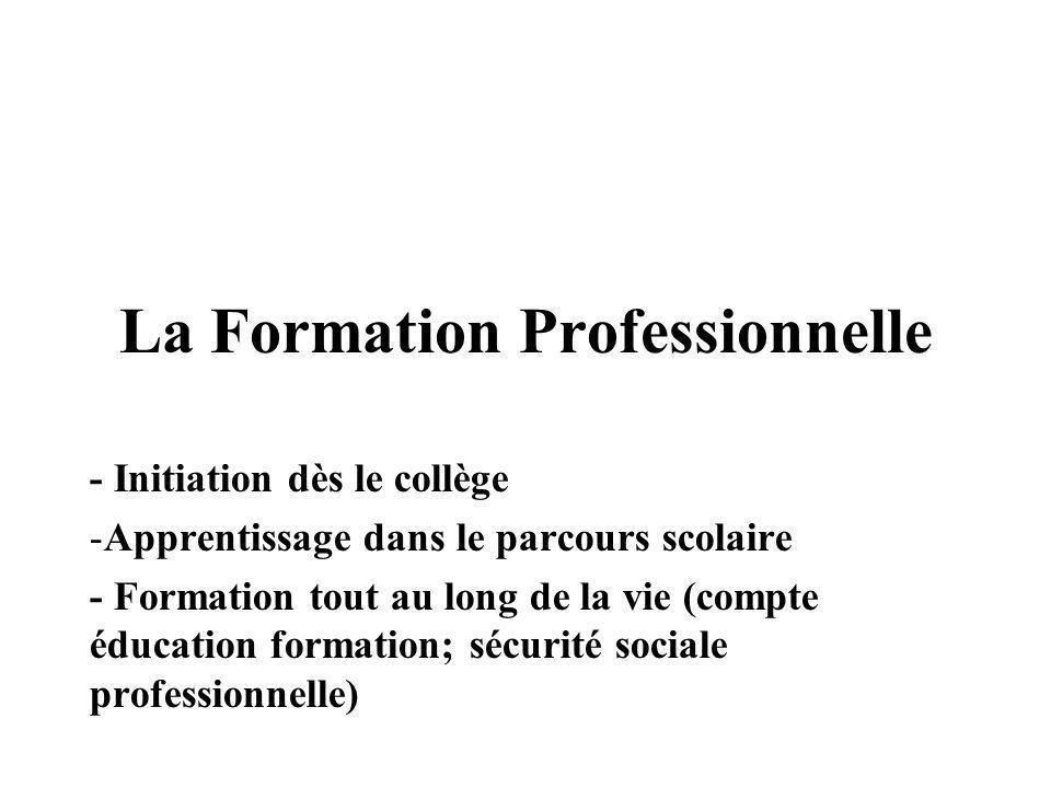 La Formation Professionnelle - Initiation dès le collège -Apprentissage dans le parcours scolaire - Formation tout au long de la vie (compte éducation formation; sécurité sociale professionnelle)