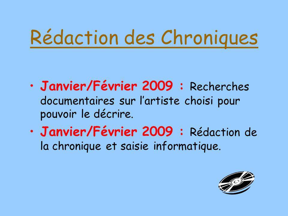Rédaction des Chroniques Janvier/Février 2009 : Recherches documentaires sur lartiste choisi pour pouvoir le décrire. Janvier/Février 2009 : Rédaction