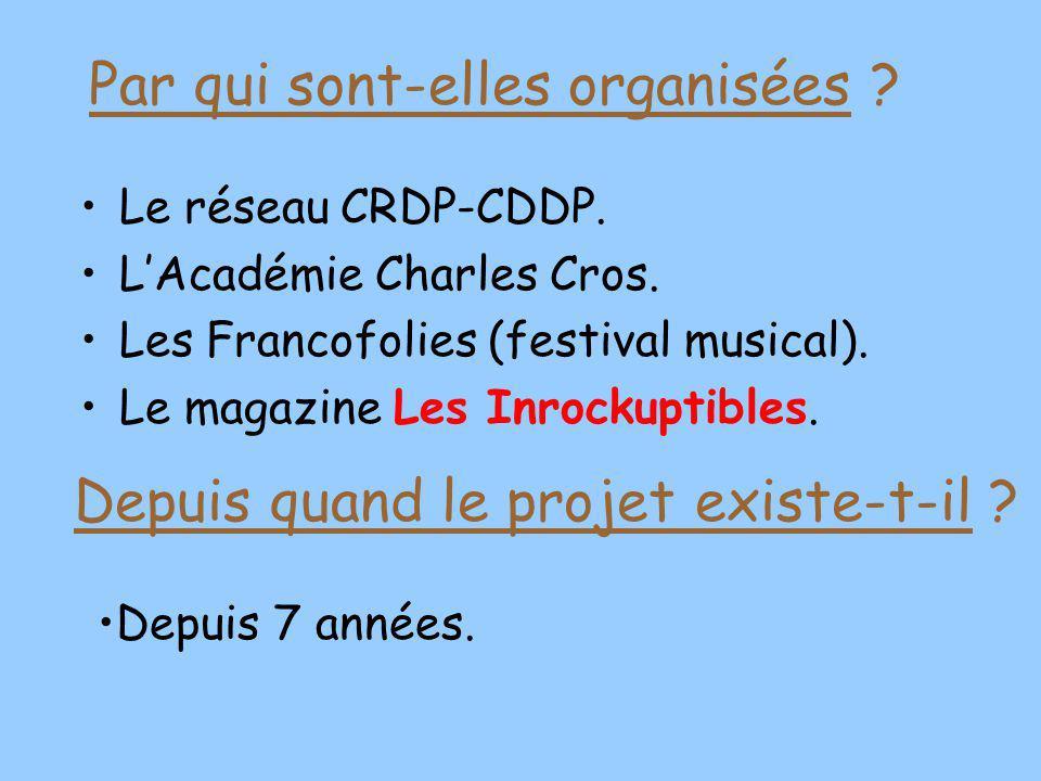 Le réseau CRDP-CDDP. LAcadémie Charles Cros. Les Francofolies (festival musical). Le magazine Les Inrockuptibles. Depuis 7 années. Par qui sont-elles